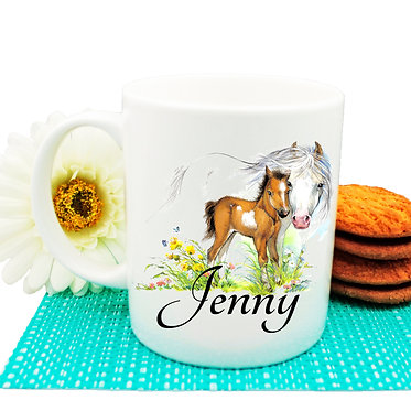 Personalised ceramic coffee mug mare and foal horse image front view
