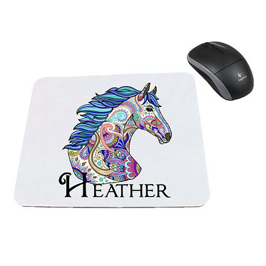 Neoprene computer mouse pad personalised painted horse image front view