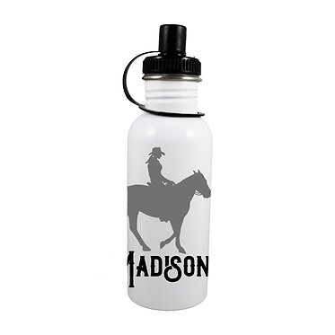 Personalised stainless steel water bottle western horse rider black grey image front view