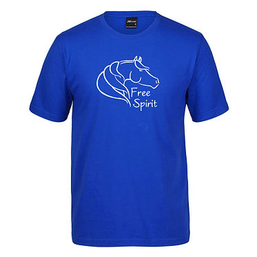 Adults t-shirt royal blue with free spirit horse image front view