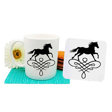 Ceramic coffee mug and drink coaster set horse on scroll image in black and white front view