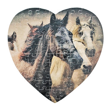 Heart shape jigsaw puzzle small with wild horses image front view