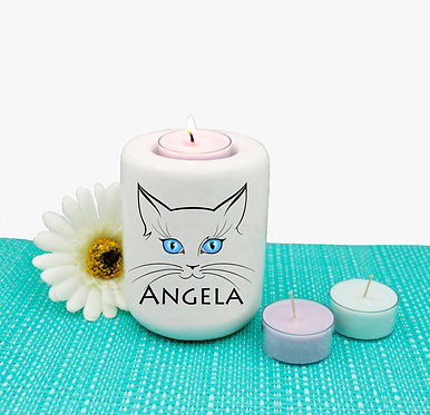 Personalized ceramic tealight candle holder cat face image front view