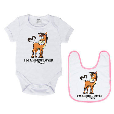 Baby romper play suit and matching bib gift set in white with soft pink trim on bib I'm a horse lover image front view