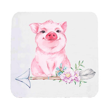 Neoprene drink coaster with a cute pig sitting on arrow with flowers front view