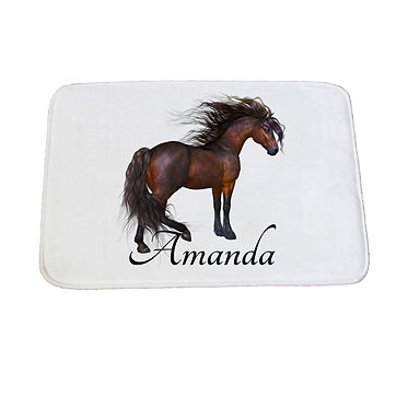 Personalised non-slip bath mat magical horse image front view