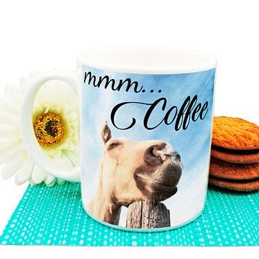 "Ceramic coffee mug with horse and quote ""Mmm... Coffee"" image front view"