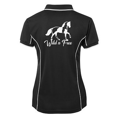 Ladies horse pipping polo shirt black white wild n free paint horse image back view