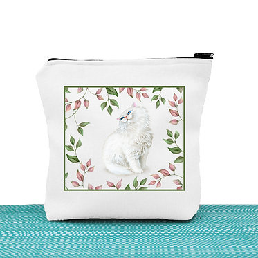 Cat theme cosmetic toiletry bag with white cat and leaves image front view