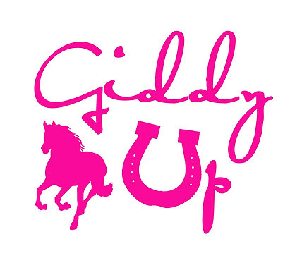 Giddy up horse decal sticker in pink front view