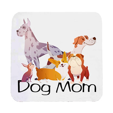 Dog themed neoprene coaster sets with dog mom image front view