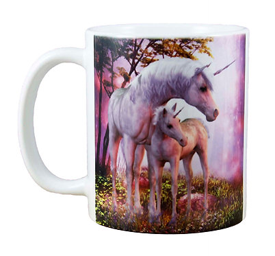 UNICORN COFFEE MUG PINK MARE & FOAL