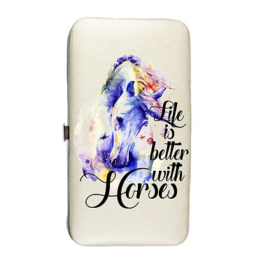 Ladies hard case purse wallet with mobile phone mount inside life is better with horses image view