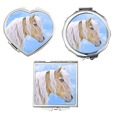 Compact mirrors in 3 shapes heart, round and square beautiful palomino horse image front view