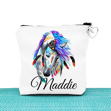 White cosmetic toiletry bag with zipper personalised spirit horse image front view