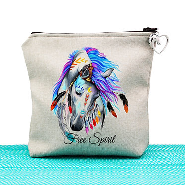 Tan cosmetic toiletry bag with zipper spirit horse image front view