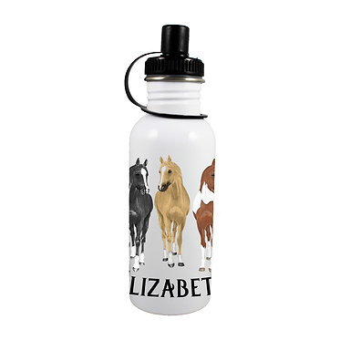 Personalised stainless steel water bottle three horses image front view