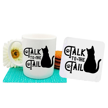 "Ceramic coffee mug and drink coaster set black cat with ""Talk to the tail"" image front view"