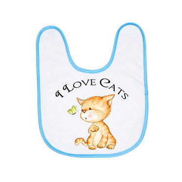 Babies bib with blue trim and I love cats image front view