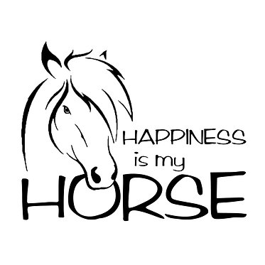 Horse vinyl decal sticker happiness is my horse front view