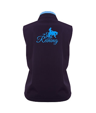 Navy with light blue accents and reining horse image ladies softshell vest back view