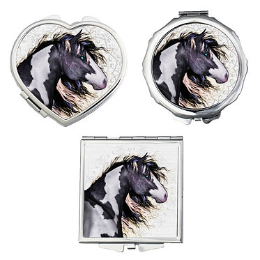 Compact mirrors in 3 shapes heart, round and square black and white paint horse image front view