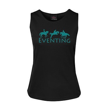 Ladies singlet top black with turquoise eventing horse image front view