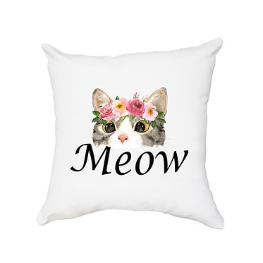 White cushion cover with zip 40cm x 40cm cat meow image front view