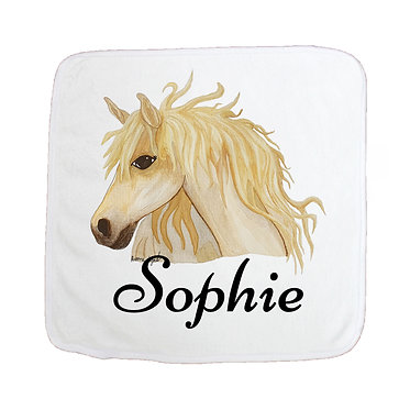Personalized microfiber face washer watercolour horse image front view