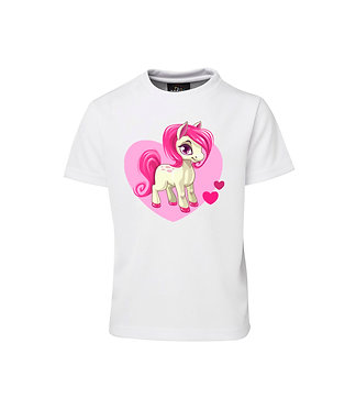 White kids poly t-shirt cute pink horse with hearts image front view