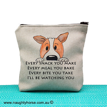 """Tan cosmetic toiletry bag with zip cute dog image with quote """"every snack  you make"""" front view"""
