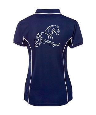 Navy white piping and image horse free spirit ladies polo shirt back view