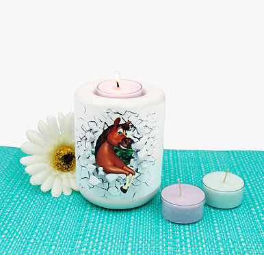 Ceramic tealight candle holder with horse breaking through wall image front view