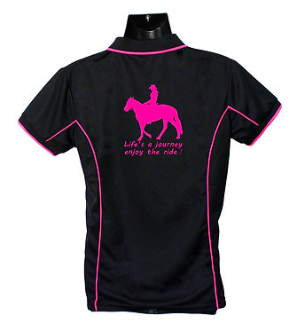 Black Hot Pink Horse Polo Shirt Back View