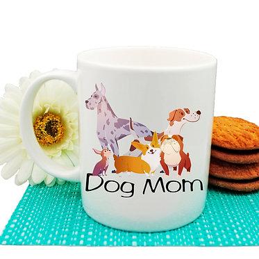 Dog themed coffee mug with dog mom image front view