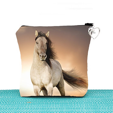 Cosmetic toiletry bag with zipper buckskin horse cantering image front view