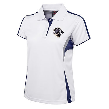 Ladies horse cool polo shirt white I love paints front view