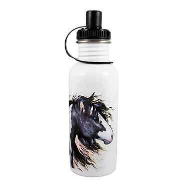 Stainless steel water bottle with black and white paint horse image front view