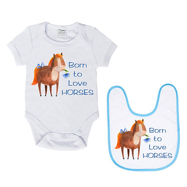 Baby romper suit and matching bib gift set white with blue trim on bib born to love horses image front view