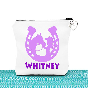 White cosmetic toiletry bag with zipper personalised with horse & girl purple image front view