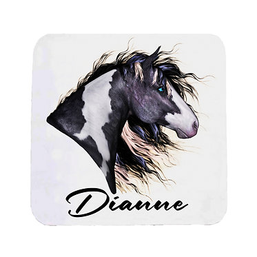 Personalised neoprene drink coaster sets personalised black and white horse image front view