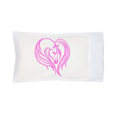 Pillowcase white pink majestic horse image front right view
