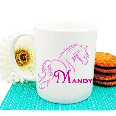 Personalised ceramic coffee mug horse looking away hot pink image front view