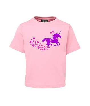 Soft pink kids cotton t-shirt unicorn horse in purple with pink stars image front view