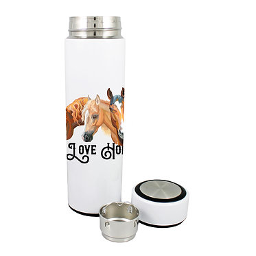 Thermos flask drink travel bottle 500ml stainless steel with lid off I love horses image front view