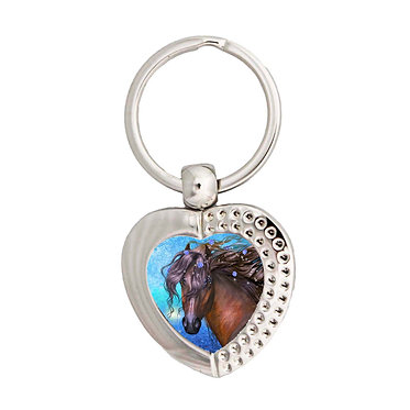 Heart metal key-ring magical horse image front view