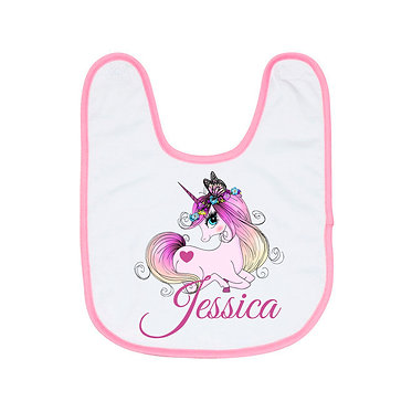 Personalized babies bib in pink and white with unicorn image front view