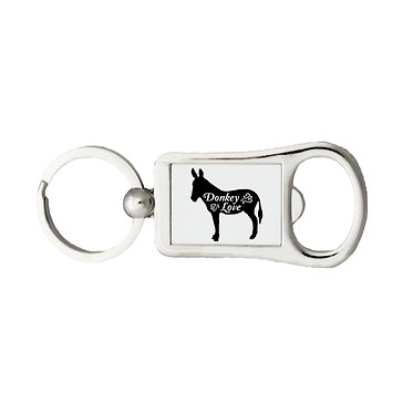 Bottle opener metal key ring with donkey love image black and white front view