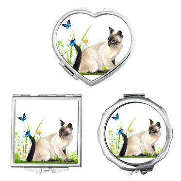 Compact mirrors round, square, heart shapes with cat with butterflies image front view