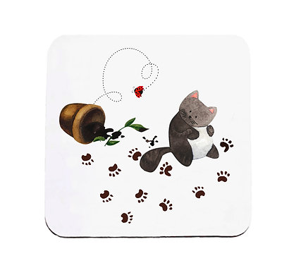 Neoprene drink coaster messy cat with paw prints image front view